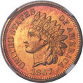 Indian Cents, 1867 1C MS66 ★ Red NGC....