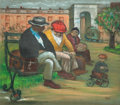 Fine Art - Painting, American:Modern  (1900 1949)  , Albert Pels (American, 1910-1998). Parks Scene and Clown (doublesided work). Oil on canvas. 15-1/4 x 16-3/4 inches (38....