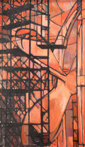 Fine Art - Painting, American:Contemporary   (1950 to present)  , Continental School (20th Century). Untitled (Scaffolding &Propeller). Oil on canvas. 43 x 27 inches (109.2 x 68.6 cm)....