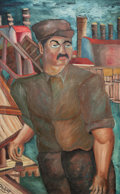 Fine Art - Painting, American:Modern  (1900 1949)  , Niberg Abbey (American, 20th Century). Factory Worker. Oilon canvas. 47-1/2 x 29-1/2 inches (120.7 x 74.9 cm). Signed l...
