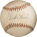 "Autographs:Bats, Circa 1927 ""Babe"" Ruth Single Signed Baseball...."
