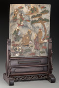 Asian:Chinese, A Chinese Marble Table Screen Inlaid with Hardstone andMother-of-Pearl: The Eight Immortals. 19-1/4 h x 12 w x7-1/...