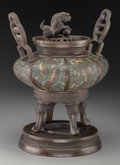 Asian:Chinese, A Chinese Cloisonné and Bronze Censor. 14-1/4 inches high (36.2cm). ...