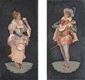 Decorative Arts, Continental:Other , Two Italian Pietra Dura Plaques: Cavalier and Maiden. 9-3/4inches high x 5 inches wide (24.8 x 12.7 cm) (plaques, s...