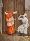 Ceramics & Porcelain, A Continental Painted Porcelain Plaque: Sacristan and Baker Drinking Communion Wine, late 19th-early 20th century. 1...