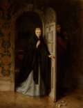 Fine Art - Painting, European:Antique  (Pre 1900), Hugh Carter (British, 1837-1903). An Unexpected Visitor,1868. Oil on canvas. 44 x 34 inches (111.8 x 86.4 cm). Signed a...
