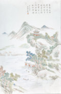 Asian:Chinese, A Chinese Painted Porcelain Landscape Plaque. 17-3/4 h x 12-1/4 winches (45.1 x 31.1 cm) (frame). ...