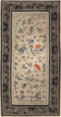Asian:Chinese, Three Framed Chinese Embroidered Silk Panels. 24 h x 12-1/4 winches (61.0 x 31.1 cm) (larger panel). ... (Total: 2 Items)
