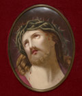 Ceramics & Porcelain, Continental:Antique  (Pre 1900), A KPM Painted Porcelain Plaque in Giltwood Frame: Christ beforeCrucifixion, Berlin, Germany, late 19th century. Mar...