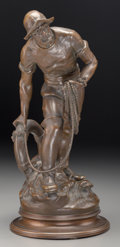 Fine Art - Sculpture, American:Antique (Pre 1900), Albert Froger (French, 19th Century). Sauveteur. Bronze withbrown patina. 15 inches (38.1 cm) high. Inscribed on base w...