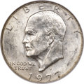 Errors, 1977-D $1 Eisenhower Dollar -- Struck on a 40% Silver Planchet -- MS63 NGC. Breen-5774....