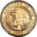 Coins of Hawaii , 1959 Heraldic Art Hawaii Statehood Medal, Gold, MS69 NGC. M. 2MS-6....