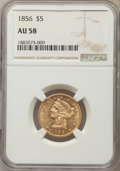 Liberty Half Eagles: , 1856 $5 AU58 NGC. NGC Census: (116/45). PCGS Population: (36/33). CDN: $750 Whsle. Bid for problem-free NGC/PCGS AU58. Mint...