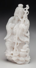 Asian:Chinese, A Chinese Carved Hardstone Figure: Sage. 8 inches high (20.3cm). ...