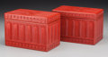 Asian:Chinese, A Pair of Chinese Lacquered Boxes. 4-1/2 h x 6-1/2 w inches (11.4 x16.5 cm). ... (Total: 2 Items)