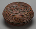 Asian:Chinese, A Chinese Carved Cinnabar Covered Box. 3-3/4 h x 6-1/2 d inches(9.5 x 16.5 cm). ...