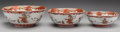 Asian:Japanese, Three Japanese Kutani Porcelain Bowls: Shichifukujin, MeijiPeriod. 4 h x 10 d inches (10.2 x 25.4 cm). Proven... (Total: 3Items)