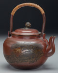 Asian:Japanese, A Japanese Patinated Copper Teapot: Mount Fuji, MeijiPeriod. 4-3/4 inches high (12.1 cm) (handle lowered). Pr...