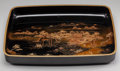 Asian:Japanese, A Large Japanese Lacquered Landscape Tray . Signed Nishimurato underside . 2-3/4 h x 21-1/4 w x 15-1/2 d inches (7.0 x ...