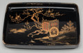 Asian:Japanese, A Japanese Lacquered Tray: Carriage under Plum Tree, circa1900. 1-5/8 h x 18 w x 12-1/2 d inches (4.1 x 45.7 x ...