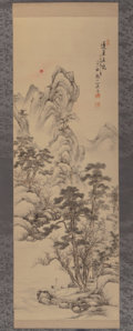 Textiles, Japanese School (19th Century). Landscape with Cranes Scroll, Meiji Period. Ink and watercolor on silk, paper backed, ro...