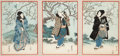 Fine Art - Work on Paper:Print, Utagawa Kunisada (Japanese, 1786-1864). Three Kabuki Actors under Blossoming Pear Trees (triptych). Woodblock in colors...
