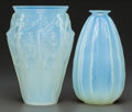 Art Glass:Other , Two Sabino Opalescent Glass Vases: Ondulations & ReaGriz, Paris, France, post 1935. Marks to both: ... (Total: 2Items)