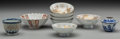 Asian:Chinese, A Group of Nine Chinese and Japanese Porcelain Smalls. 1-7/8 incheshigh x 4-3/4 inches diameter (4.8 x 12.1 cm) (Kutani bow... (Total:9 Items)
