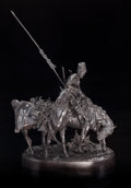 Fine Art - Sculpture, European:Antique (Pre 1900), After Evgeni Evgen'evich Lansere (Russian, 1875-1946).Zaporozhsky Kazak after the battle. Bronze with brownpatina. 26-...