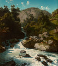 Fine Art - Painting, European:Antique  (Pre 1900), Jean François Xavier Roffiaen (Belgian, 1820-1898). MountainStream, 1853. Oil on panel. 16 x 13-3/4 inches (40.6 x 35.1...