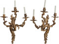 Decorative Arts, French:Lamps & Lighting, A Pair of Louis XV-Style Gilt Bronze Three-Light Sconces, 20thcentury. 25 inches high (63.5 cm). PROPERTY FROM A PRIVATE ...(Total: 2 Items)