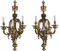 Decorative Arts, Continental, A Pair of Louis XVI-Style Gilt Bronze Three-Light Sconces, 20thcentury. 30-1/2 inches high (77.5 cm). PROPERTY FROM A PRI...(Total: 2 Items)