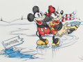 Animation Art:Production Drawing, Virgil Ross - Mickey Mouse and Minnie Mouse Illustration (WaltDisney, c. 1990)....