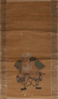 Asian:Japanese, Japanese School (19th Century). Samurai Scroll. Ink andwatercolor on silk, paper backed, wooden dowel. 62-1/2 x 18-1/2 ...