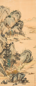 Asian:Chinese, Chinese School (20th Century). Chinese landscape. Ink andcolors on silk. 26-3/4 x 11-1/4 inches (67.9 x 28.6 cm) (sight...
