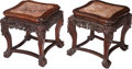 Asian:Japanese, A Pair of Japanese Carved Hardwood Stands with Inset Marble Tops,late 19th century. 18-1/2 h x 17 w x 17 d inches (47.0 x 4...(Total: 2 Items)