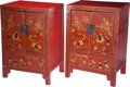 Asian:Other, A Pair of Korean Red Lacquered Hardwood Cabinets, 20th century.35-1/2 h x 25 w x 17 d inches (90.2 x 63.5 x 43.2 cm). ... (Total:2 Items)