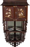 Asian:Japanese, A Japanese Inlaid Hardwood Corner Cabinet, late 19th century. 48inches high (121.9 cm). ...