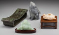 Asian:Chinese, Four Pieces of Chinese Hardstone Carvings: Opium Pillow,Rabbit, Budai, Waterdropper. 5-7/8 inches x... (Total: 4 Items)