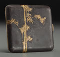 Asian:Japanese, A Japanese Damascene Cigarette Case with Bamboo Motif. Marks: (sealto interior). 3-1/4 inches high (8.3 cm). ...