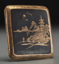 Asian:Japanese, A Japanese Damascene Landscape Cigarette Case. 3-1/2 inches high(8.9 cm). ...