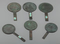 Asian:Japanese, A Group of Six Small Japanese Bronze Hand Mirrors. 7-3/4 incheslong (19.7 cm) (largest). ... (Total: 6 Items)