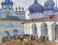 Moissey Kogan (Russian, 1924-2001) Church Courtyard Oil on canvasboard 28-1/2 x 36-1/2 inches (72