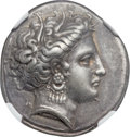 Ancients:Greek, Ancients: LOCRIS. Opuntia. Ca. 380-338 BC. AR stater (24mm, 12.06 gm, 4h). NGC XF 5/5 - 5/5, Fine Style....