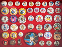 Premium Comic and Radio Related Pinback Group of 44 (various, c. 1940-50s)