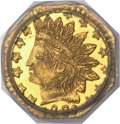 California Fractional Gold , 1880/70 25C Indian Octagonal 25 Cents, BG-799I, R.6, MS66 PCGS....