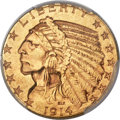 Indian Half Eagles, 1914-S $5 MS62+ PCGS. CAC....