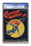 Golden Age (1938-1955):Superhero, Captain Marvel Jr. #1 (Fawcett, 1942) CGC VF+ 8.5 Off-white pages. Less than a year after first appearing in Whiz Comics...