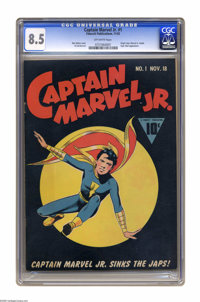 Captain Marvel Jr. #1 (Fawcett, 1942) CGC VF+ 8.5 Off-white pages. Less than a year after first appearing in Whiz Comics...