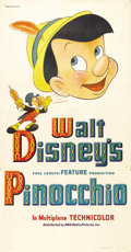 "Movie Posters:Animated, Pinocchio (RKO, 1940). Three Sheet (41"" X 81"") Style B. ..."